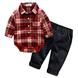 Baby Boy Casual Suit 2pcs Cotton Long Sleeve Plaid Button-Down Shirt Pant Outfits Clothes Set (12/18M) Red