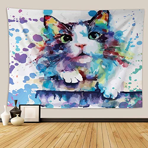 Home Furnishing Lovely little Cat series tapestry wall Hanging Sandy Beach Picnic Throw Rug Blanket Camping Tent tapestry (111, 80x68 inch)