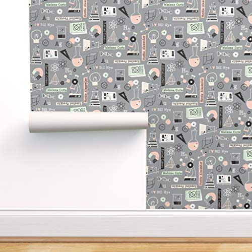 Spoonflower Pre-Pasted Removable Wallpaper, Science Blinded Me with Science! School Kids Test Tubes Microscope Magnet Neurons Print, Water-Activated Wallpaper, 24in x 144in Roll