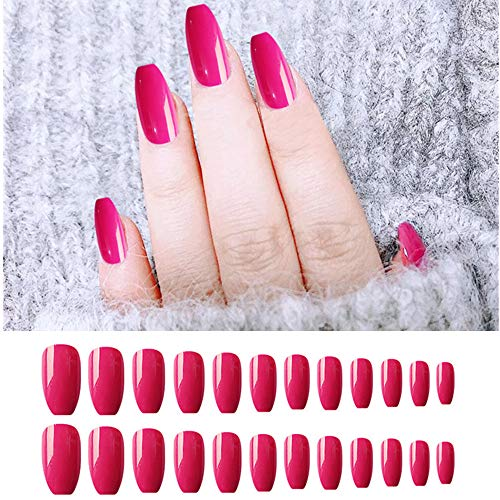 24 Pieces False Nails Coffin Long Fake Nails Ballerina Glossy Full Cover Stick On Nails for Women and Girls Nail Art Salon DIY Decoration (Barbie Pink)