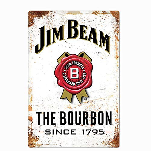 Original Retro Design Jim Beam Tin Metal Wall Art Signs, Thick Tinplate Print Poster Wall Decoration for Bar/Man Cave