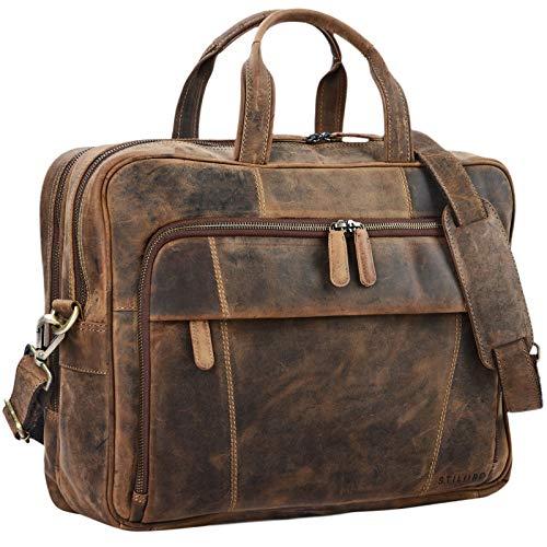 STILORD 'Jaron' Large Shoulder Bag Leather Men Women XL Laptop Bag 15.6 inches/College Bag/Portfolio/Shoulder Bag/Satchel/Business Bag Genuine Leather, Colour:Middle Brown