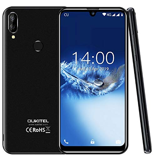 "(2019) 4G Smartphone Libres,OUKITEL C16 Pro Android 9.0 móvil Libres - MT6761 Quad-Core 2.0GHz 3GB +32GB, Dual SIM, 5.71"" HD+ Waterdrop Screen,desbloqueo Facial y de Huellas Digitales Negro"