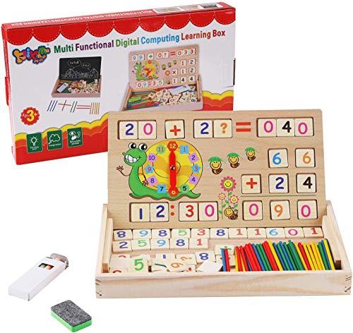 Felly Montessori Mathe Spielzeug aus Holz Lernbox, Lernuhr, Zählen von Stöcken, Zeichnung Holzbrett, Zahlen Pädagogisches Lernen Spielzeug für Kleinkinder Kinder ab 3 4 5 Jahren