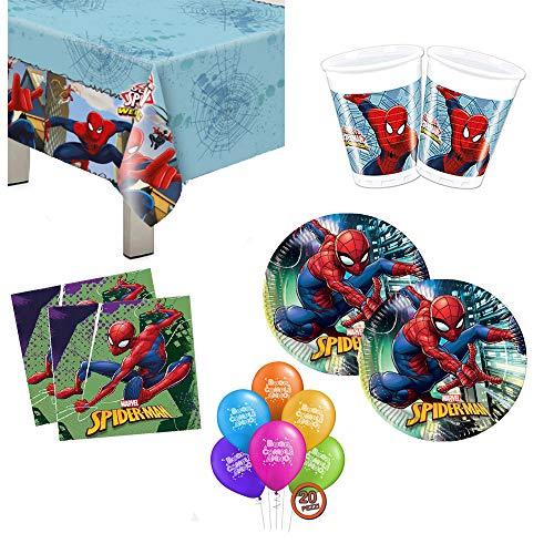 Kit Festa Compleanno Spiderman 109PZ per 24 Persone Bambino Uomo Ragno Coordinato Tavola Party 24 Piatti 24 Bicchieri 40 Tovaglioli 1 Tovaglia 20 Palloncini Set addobbi Decorazioni per Feste