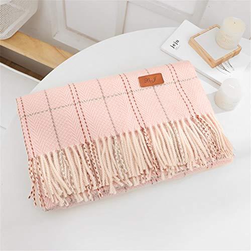 Autumn Winter Female Plaid Scarf Fashion Wool Plaid Scarf Warm All-match Shawl 70 x 180 cm,tender pink