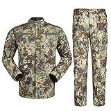 Zhiyuanan Uomo Tattico Camouflage Suit 2 Pezzi Set Outdoor Caccia Trekking Campeggio Combat Militare Giacche da Trekking Impermeabili + Pantaloni Mimetico Abbigliamento Verde Pitone Modello XS