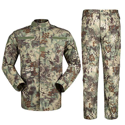 Zhiyuanan Herren Tactical Camouflage Uniform Anzug 2 Stück Sets Outdoor Jagd Trekking Camping Militär Kampf wasserdichte Wandern Jacken + Camo Hosen Tarnmuster Kleidung Grün Pythonmuster 2XL