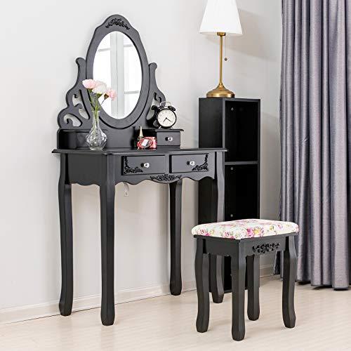 mecor Schminktisch Luxuriös Schwarz Frisiertisch mit schwenkbarer Spiegel, 4 Schubladen und Hocker, Frisierkommode, 75x39.5x140