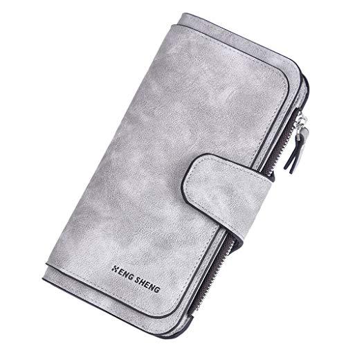 Damen Geldbörse Piebo Brieftasche Portemonnaie Lang Portmonee Elegant Clutch Große Kapazität Handtasche Geldbeutel PU Leder Geldtasche mit Reißverschluss für Frauen (Grau)