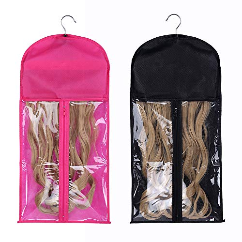 2 Pack Portable Wig Hair Extension Storage Bag with Hanger Hairpieces Storage Holder Wigs Carrier Case for Store Style Human Hair