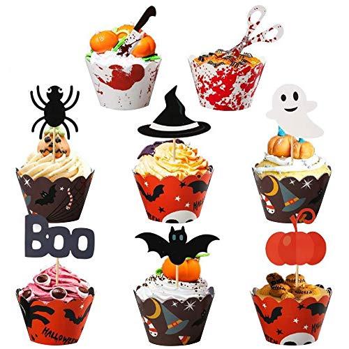 48 sztuk ozdób na babeczki i babeczki na ciastka na Halloween, na imprezę, do dekoracji ciastek i babeczek, 48 sztuk