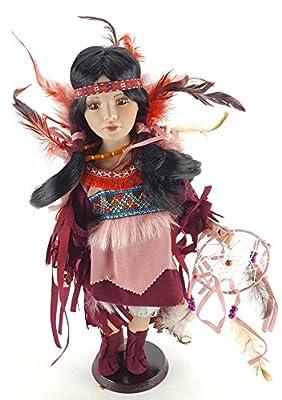 "Kinnex AKRITI 16"" Native American Dress Porcelain Collectible Doll D16697"