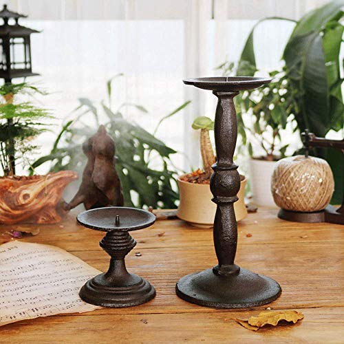 DSYADT 2 Pcs Metal Taper Candle Holders - Candlestick Holders Vintage Decorative Centerpiece for Table Mantel Wedding Christmas Party Housewarming Gift
