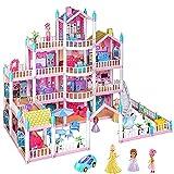WANGCHAO Casa de muñecas de niña, casa de muñecas Grandes de Cuatro Pisos, casa de muñecas Castillo de Princesa con Muebles y Accesorios, Adecuado para Juguetes para Regalos para niños Adultos