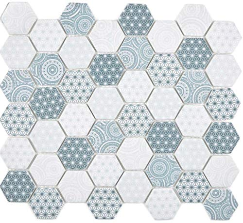 GLAS Mosaik Hexagon Sechseck ECO blau Wand Boden Küche Dusche Bad Fliesenspiegel|WB16-0414|1Matte