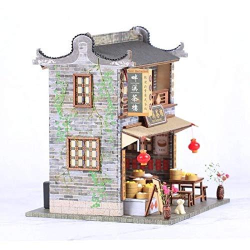 PN-Braes DollhouseDIY casa de muñecas de madera con muebles LED kits de luz miniatura china casa de té modelo de construcción de rompecabezas de juguete festival de regalo hecho a mano kit