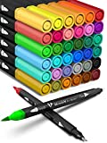 Coloring Markers Set for Adults Kids 36 Dual Brush Pens Fine Tip Art Colored Markers for Adult Coloring Books Bullet Journal School Drawing Double Sided Color Marker Pen No Bleed Valentines Day Gifts