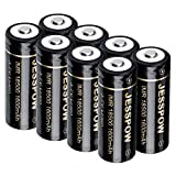 18500 Rechargeable Batteries, JESSPOW IMR 18500 Rechargeable Li-ion Battery 1600mAh 3.7V [ for Flashlight, Solar Garden Light ] with Button Top (8 Pack)