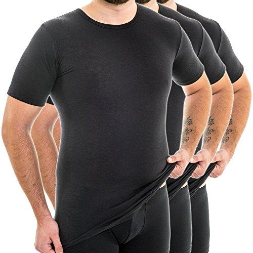 HERMKO 3847 3er Pack Herren extralanges Kurzarm Shirt (+10cm), Farbe:schwarz, Größe:D 6 = EU L