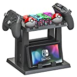 Skywin Organizer and Stand for Nintendo Switch - Storage Stand and Organizer Compatible with Nintendo Switch Accessories - Organizes Dock, Game Cards, Joy Cons, Pro Controllers, Grip, Games, Console