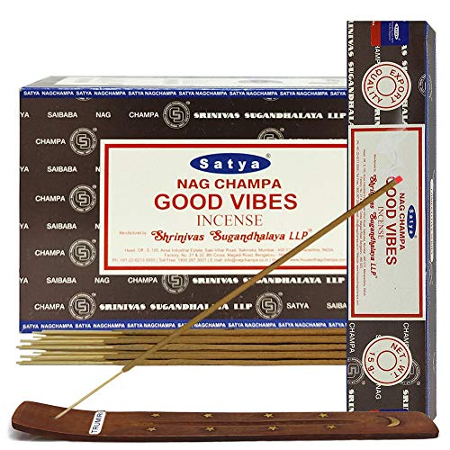 Good Vibes Incense Sticks And Incense Stick Holder Bundle Insence Insense Satya Incense