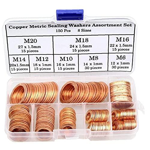 El cobre junta de estanqueidad arandela de cobre métricas de sellado Surtido Set Juntas Anillos de oro 8 herramientas industriales Tamaños 150PCS