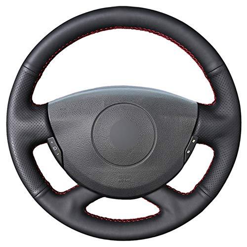 Wcnsxs Funda de Cuero Negro para Volante, para Renault Laguna 2001-2007, para Vel Satis 2001-2005, para Grand Espace 2003-2008, para Trafic 2012-2014