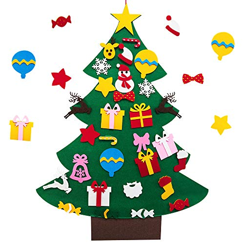 VersionTECH. DIY Felt Christmas Tree, Felt Christmas Tree Set, 30 Pcs Detachable Ornaments, Christmas Window Door Wall Hanging Decorations, As Holiday Xmas New Year Gifts for Toddlers Children Kids