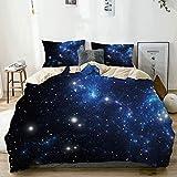 Juego de funda nórdica beige, constelación del espacio exterior, estrella, nebulosa, cúmulo astral, astronomía, galaxia, tema misterioso, juego de cama decorativo de 3 piezas con 2 fundas de almohada,