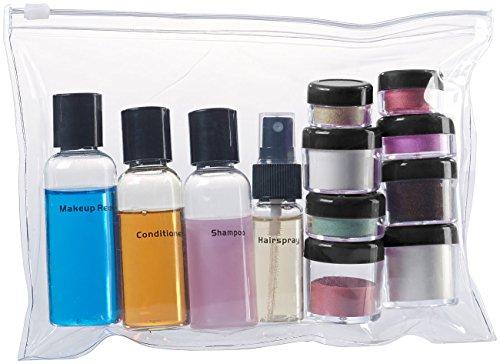 Sichler Beauty Reiseset: Reißverschluss-Tasche mit 12 Kosmetik-Behältern fürs Flug-Handgepäck (Reiseset Kosmetik)
