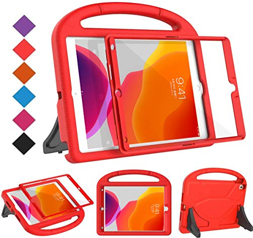 BMOUO Kids Case for New iPad 10.2 2020/2019 - iPad 8th/7th Generation Case with Built-in Screen Protector, Shockproof Light Weight Handle Stand Case for New iPad 10.2 2020/2019 Latest Model - Red
