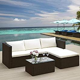 LIFE CARVER Canapé d'angle de jardin en rotin canapé d'angle de jardin meubles de terrasse ensemble de jardin…