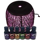 ISOTRONIC Difusor de aroma con 7 colores LED, humidificador por ultrasonido, juego con 6 aceites esenciales, aromaterapia para dormitorio, oficina, yoga, bienestar, lámpara aromática eléctrica