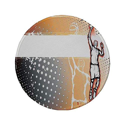 Rutschfreies Gummi-rundes Mauspad Sportdekor Basketballspieler mitten im Spiel Illustration Gepunkteter Hintergrund Doodle Style Art Orange Schwarz 7.9