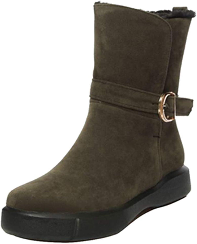 SJJH Women Casual Boots Platform Mid-Calf Cowboy Boots
