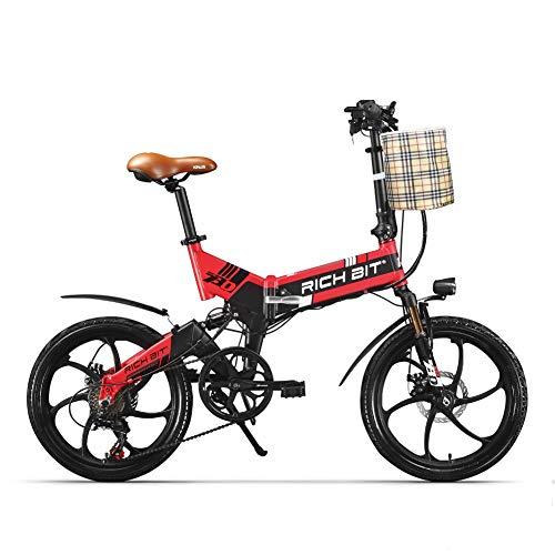 cysum RT-730 Bicicleta eléctrica Plegable 20 Pulgadas Bicicleta eléctrica 48v 8ah batería Oculta (Rojo)