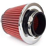 Filtro de aire deportivo universal, incluye 3 adaptadores cromados.