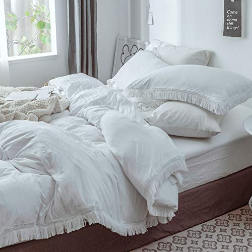Queen Duvet Cover Set, 3 Piece White Microfiber Tassel Bedding Cover with Zipper Closure - Best Modern Style for Men and Women