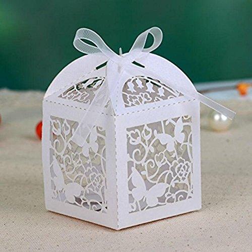 50x Cajas para dulces tallado con láser mariposa boda Bianco
