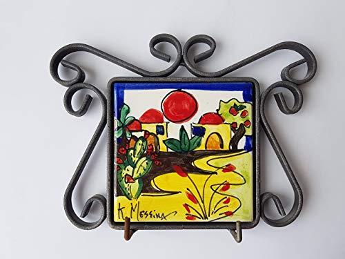 Mattonella Appendiabiti da muro di Ceramica Siciliana Dipinto a mano Le ceramiche di Ketty Messina