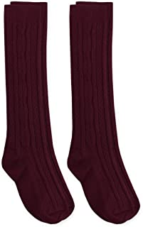 Girls School Uniform Cable Knit Knee High Socks 2 Pair Pack