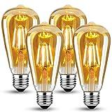 LED Vintage Edison Light Bulb,Edison E27 Screw Bulb 4W(40W Equivalent),Retro E27 Edison Light Bulbs,Antique Style LED Light Bulbs Screw in,Vintage Light Bulb 470LM 2700K Warm White,4 Pack