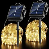 OPOLEMIN Solar String Lights Outdoor, 2 Packs 200 LED 65.6ft Solar Rope Lights Solar & 2400 mAh Rechargeable Battery Powered 8 Modes PVC Tube Waterproof Solar Fairy Lights for Halloween Garden Decor