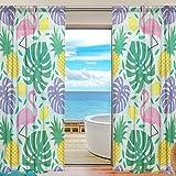 Vinlin Gardine für Fenster, transparent, Flamingo, Tropische Palmenblätter, Ananas-Voile, Vorhänge für Schlafzimmer, Wohnzimmer, 2 Paneele, 139,7 x 198 cm, Multi, 55x84x2(in)