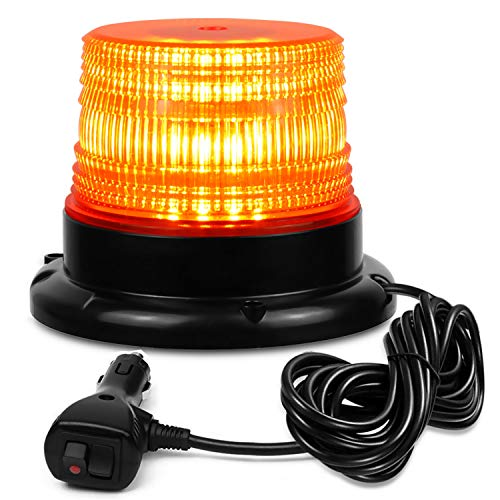 NISUNS Amber 40 LED 20 Watt Rotating Warning Safety Flashing Beacon Strobe Lights with Magnetic and 16ft Straight Cord for Vehicle Trucks Cars and Forklift,12V-24V