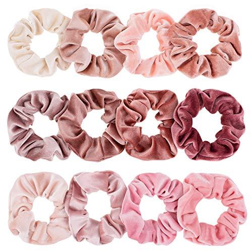 Whaline Scrunchies Samt 12 Stück Haargummis Elastische Bunte Haarbänder Pferdeschwanz für Frauen Mädchen Pferdeschwanz Haarschmuck (Rosa Serie)