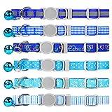 Dynmeow 6er Katzenhalsband mit Sicherheitsverschluss,Blaues Mischmuster Katze Halsband mit Katzenklingel