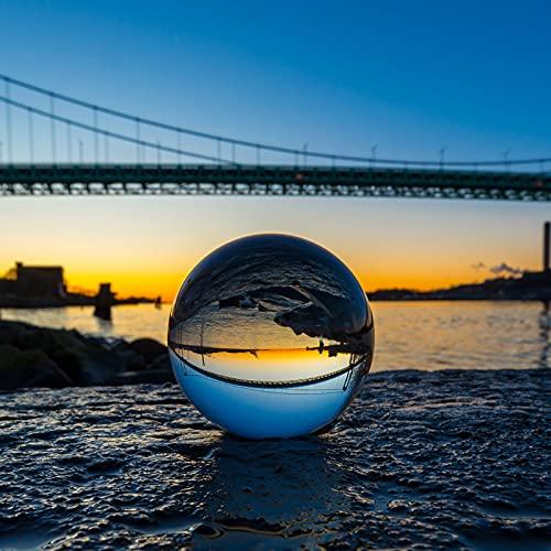 Siumir K9 Bola de Cristal Halloween Bola de Vidrio Transparente 100 mm Bola de Lente con Soporte para Decoración, Meditación, Fotografía
