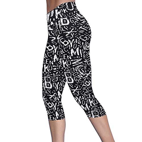 WWDDVH Frauen Mid-Calf Legging Latter Print Hohe Taille Hüfte Stretch Laufen Fitness Yo-ga Hosen Damen Übung Leggings Jogginghose Trouse